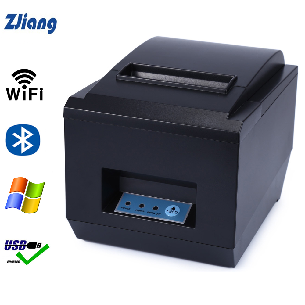 Zjiang 80mm Thermal Receipt Printer Auto Cutter Kitchen Restaurant POS Printers Wifi Serial Ethernet USB Bluetooth