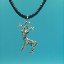 23x20 mm Deer Pendant Necklace With 45cm Leather Chain Choker Collar Vintage Silver Jewelry Women Christmas Gift