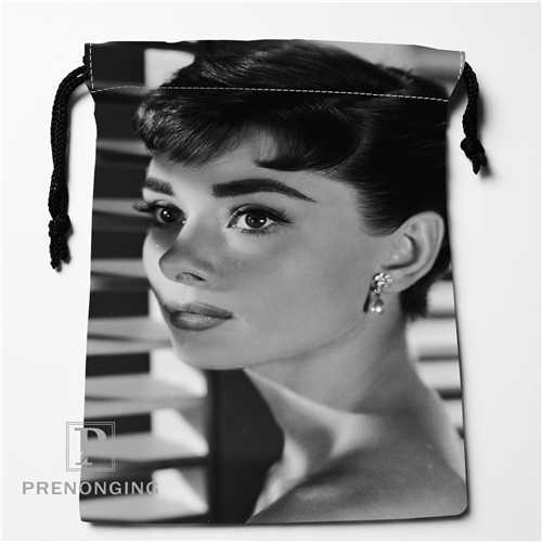 Custom Audrey Hepburn Drawstring Bags Printing Fashion Travel Storage Mini Pouch Swim Hiking Toy Bag Size 18x22cm #171208-14