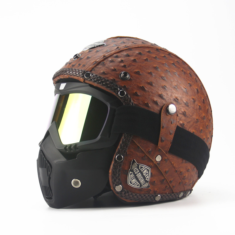 Leather Harley Helmets 3/4 Motorcycle Chopper Bike helmet open face vintage motorcycle helmet with goggle mask motocross