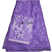 New Purple Sequins Fabric Tulle Embroideried Lace Fabric French Lace For Wedding Dress DHL Shipping