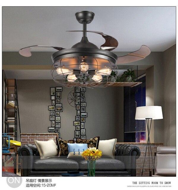 American loft fan lights fan chandelier creative minimalist restaurant industrial with remote control fan chandelier 110~240V