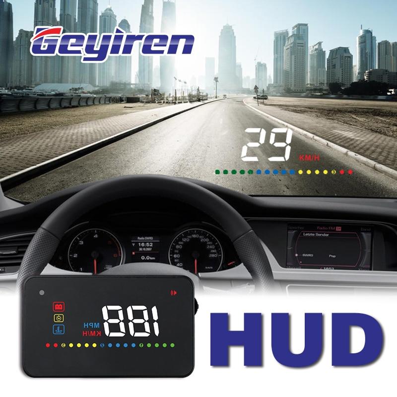 GEYIREN A200 hud voiture universel affichage tête haute compteur de vitesse obd2 température Projection d'eau sur le pare-brise pour voiture hud 2018