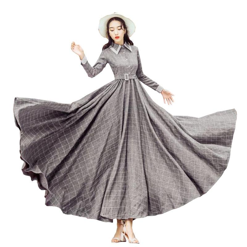 Printemps Pour Gray Élégantes Vintage down Les Rétro W312 Col Gris Littéraire Turn Robe Lolita Robes Femmes Automne Plaid 2018 Longue kXwnP8O0