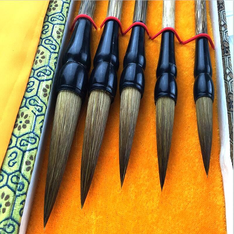 5pcs/lot Chinese Calligraphy Brush Pen Set Weasel Hair Writing Brush Ink Pen Painting Medium Regular Script Brush Gift Box Set
