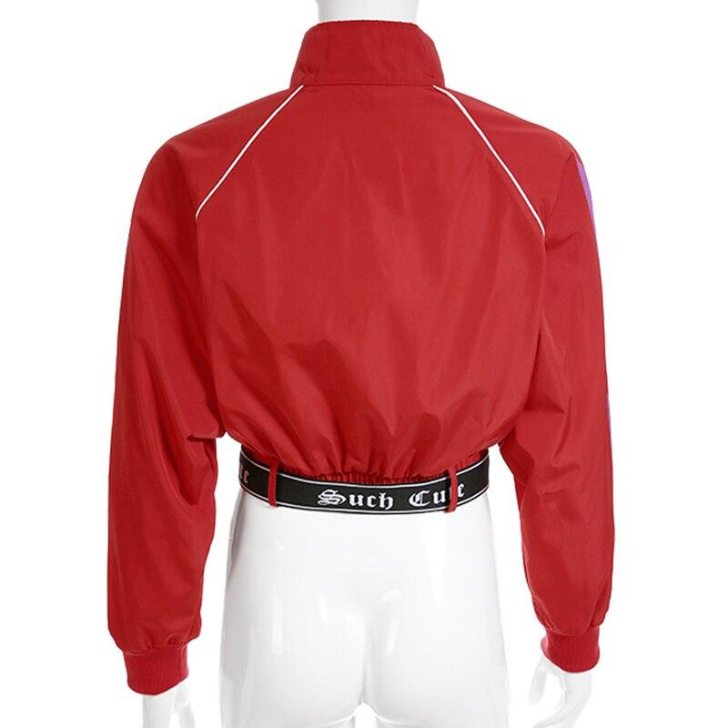Para Estampado Suelto Abrigo Chaqueta Rompevientos Heyoungirl Con Corta Retazos Mujer De Cinturón Rojo Harajuku Bombardero Streetwear Otoño Casual qaxSZSX