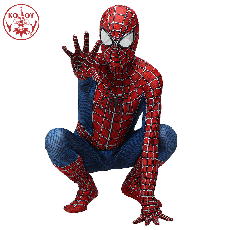 Classic Spiderman Costume Adult Halloween Cosplay Spandex 3D Fancy Dress Red Black Spider Man Jumpsuit Clothing