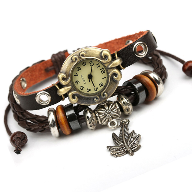 NEW Vintage Watch Women Dress Quartz Watchs Wrap Tree Leaf Pendant Genuine Leath