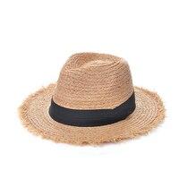 [La MaxPa] 2017 Moda Kobiety Naturalne Szerokim Rondem Fringe Rafia Słomkowe Kapelusze Kapelusz Składany Postrzępione Chapeau Femme Plaża Panama Sun Kapelusze