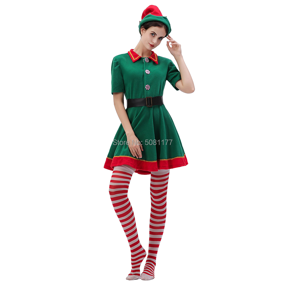 2019 Christmas Elf Costume For Women Santa Elf Dress 4-Piece Set Cosplay Costumes
