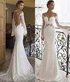 New Vestidos de novia Mermaid Wedding Dresses 2016 Elegant Flare Sleeve Sheer O-Neck Lace Open Back Bridal Gown robe de mariage