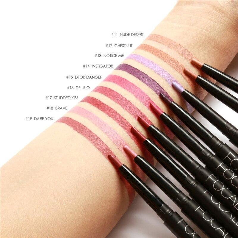 Sexy Red <font><b>Lip</b></font> Liner <font><b>Pencils</b></font> Waterproof <font><b>Lip</b></font> <font><b>Pencil</b></font> Long Lasting Pigments <font><b>Nude</b></font> Color Focallure Brand Lipliner Pen Makeup Cosmetics