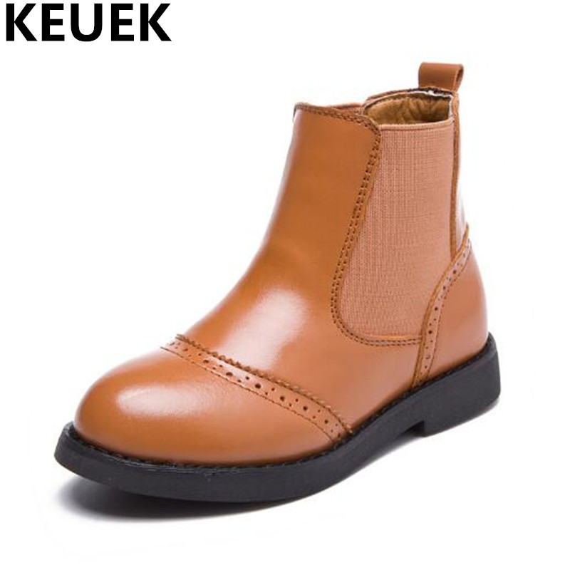 NEW Autumn/Winter Genuine Leather Shoes Children Boots Boys Girls Motorcycle Martin boots Snow Casual Kids Leather Boots 044 2014 new autumn and winter children s shoes ankle boots leather single boots bow princess boys and girls shoes y 451