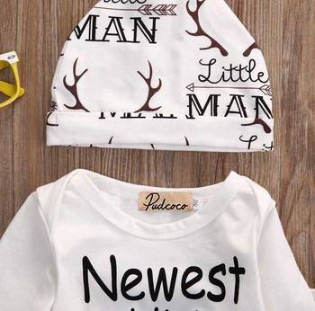 New Fasihon Newborn Infant Baby Boy Clothes Set Long Sleeve O-Neck Romper Tops Pant Hat Outfits Set NEW 2