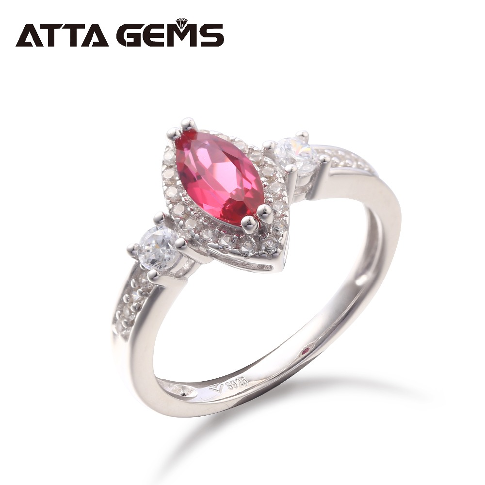 Red Ruby Sterling Silver Rings for Women Wedding Rings Created Ruby Wedding Engagement Silver Rings Top Quality Romantic Style