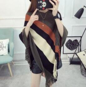 Женский весенне-осенний вязаный свитер, пончо, пальто, однотонный элегантный пуловер, джемпер с неровными кисточками, накидка, накидка для женщин - Цвет: Тёмно-синий