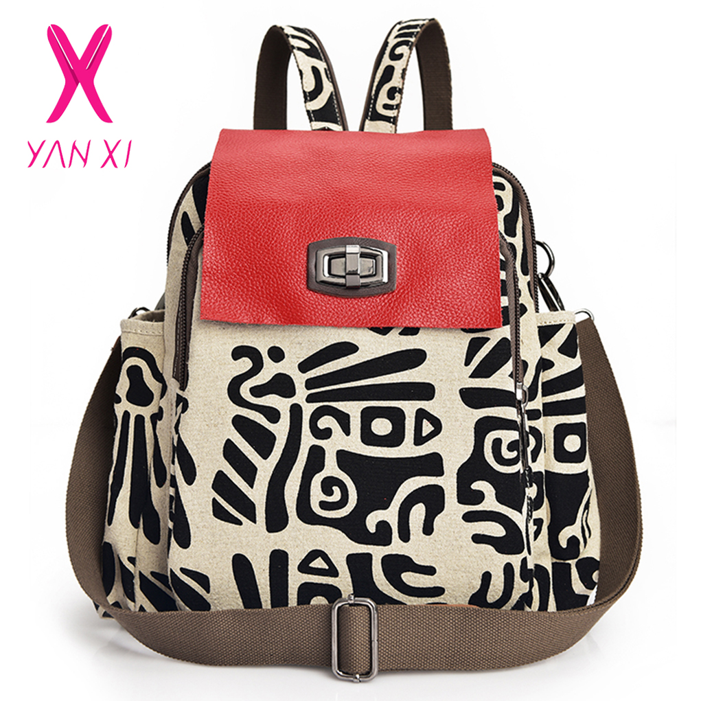YANXI Autumn New Style Cartoon Female Fashion Canvas Backpack Outside Travel Shopping School Multifunctional Backpack Bag cartoon airplane style red