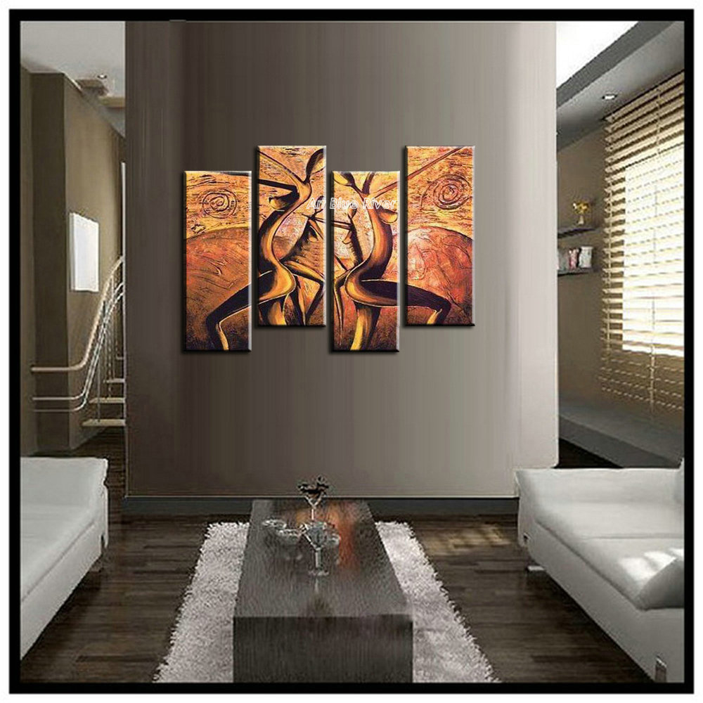 4 Panel Canvas Art Modern Abstract Wall Decor Painting Canvas African Woman Art Nude -7150
