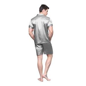 Image 3 - Tony&Candice Satin Silk Pajamas Shorts For Men Rayon Silk Sleepwear Summer Male Pajama Set Soft Nightgown For Men Pyjamas