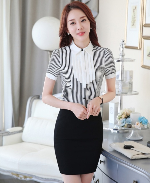 New Fashion Striped Color Formal Uniform Styles Female Work Suits Tops And Skirt Ladies Office Short Sleeve Professional Sets