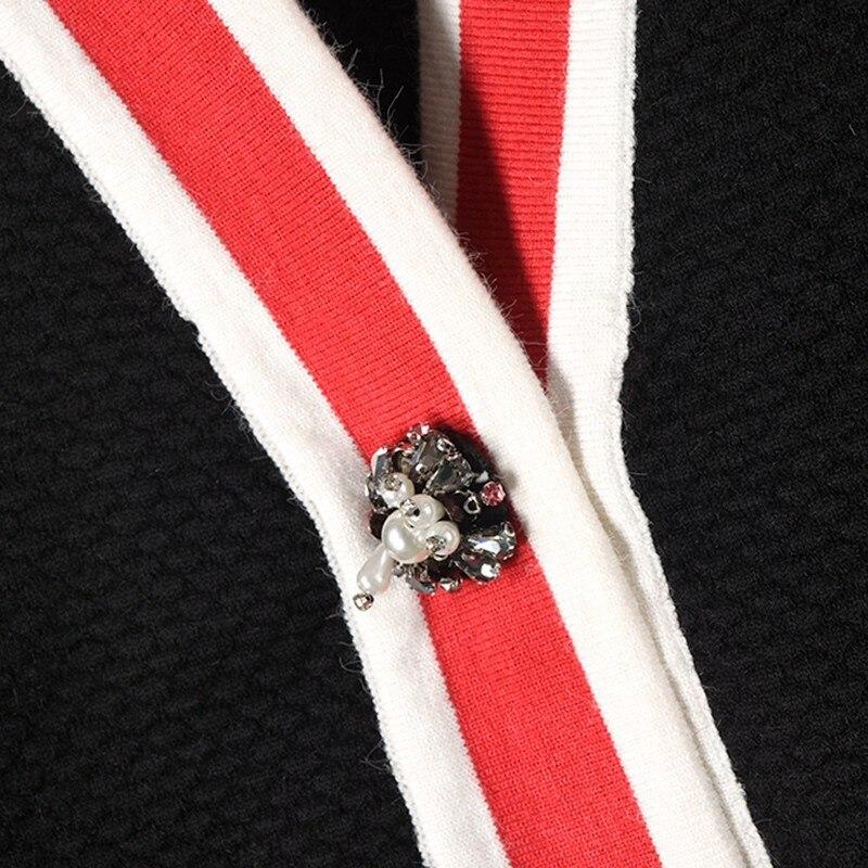 cou Tricoté Cardigans Chandail Bouton Épais Style white Forage De Ubei2018 Couleur Femmes Black Moyen Nouvelle Luxe V Veste Perle xqPB86f
