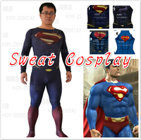High Quality Custom Made Super Hero Superman Adult Man Halloween Cosplay Costume Spandex Suit