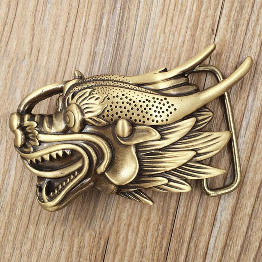 CUKUP Unique Design Chinese Dragon Head Pattern Cowboy Belt Buckle Solid Copper Buckles Ancient Character Phantom BRK016