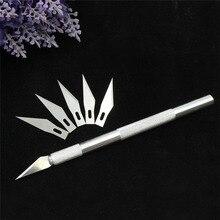 1 Набор/инструмент для скальпеля с металлической ручкой, нож для рукоделия, резак, ручка, ножи для гравировки, хобби, нож DIY+ 6 шт. лезвие для ремонта телефона и ноутбука