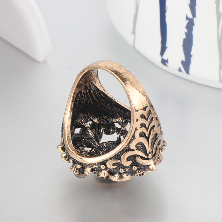 Kinel Vintage Jewelry Wholesale Punk Gray Crystal Ring For Women Antique Gold Color Wedding Ring Party Accessories Gifts in Rings from Jewelry Accessories