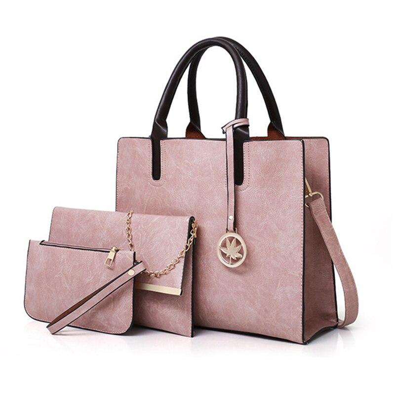 3 sztuk torebki i torebki wysokiej jakości kobiety skórzane torebki proste projektant duże torby typu tote dla kobiet 2018 torby na ramię w Torebki na ramię od Bagaże i torby na  Grupa 1