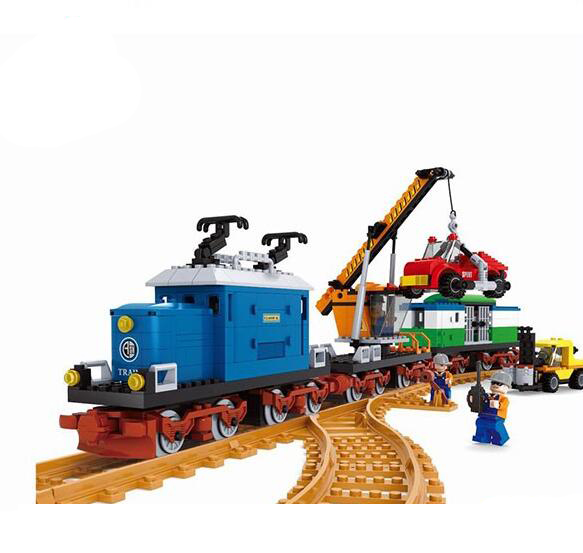 Model building kits compatible with lego city Transportation Track Train 1044 3D blocks Educational toys hobbies for children ausini model building kits compatible with lego city transportation train 1025 3d blocks educational toys hobbies for children