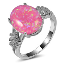 Hot Sale Exquisite Pink Fire Opal 925 Sterling Silver High Quantity Engagement Wedding Ring Size 5 6 7 8 9 10 11 A107