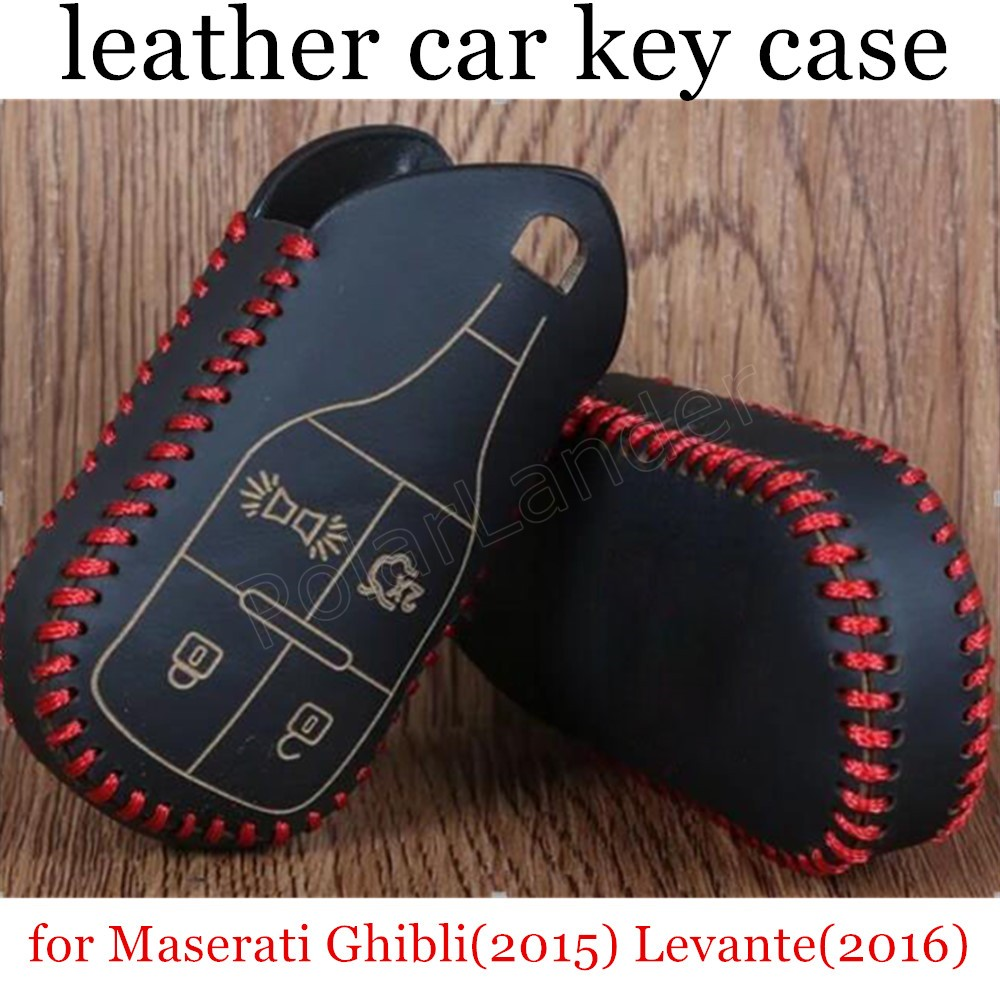 Only Red Premium Quality for Maserati Ghibli(2015) Levante(2016) car key case Hand sewing Genuine leather cover DIY