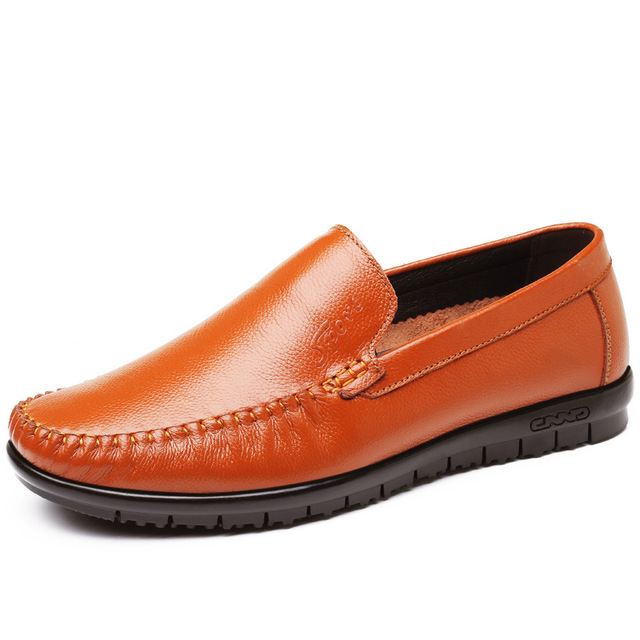 1018  Casual Men's Shoes with Soft Rubber Sole and Round Head Breathable Single Genuine Leather Shoe Designer Mens