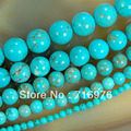 wholesale Natural Stone Beads Blue Turquoise Round Beads For Jewelry Making 15.5 inches Pick Size 4 6 8 10 12 14mm (F00041)