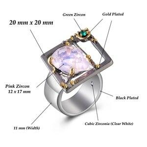 Кольцо большой квадратной формы с большой розовой каплевидной цирконием, милый необычный дизайн, модные украшения для женщин, подарки, украшения 2020