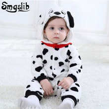 Купить с кэшбэком New born baby clothes bear dog Giraffe baby animal costume Hooded Flannel Zipper Rompers Cute Baby Warm Climbing Pajamas Romper