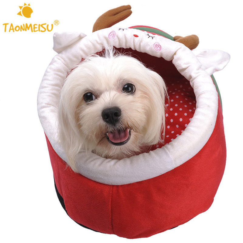 TAONMEISU Pet Dog Bed House Christmas Deer Pattern Winter Warm Soft Cashmere Jubilant Anti-Slip Dog Bed 2 Size 2016