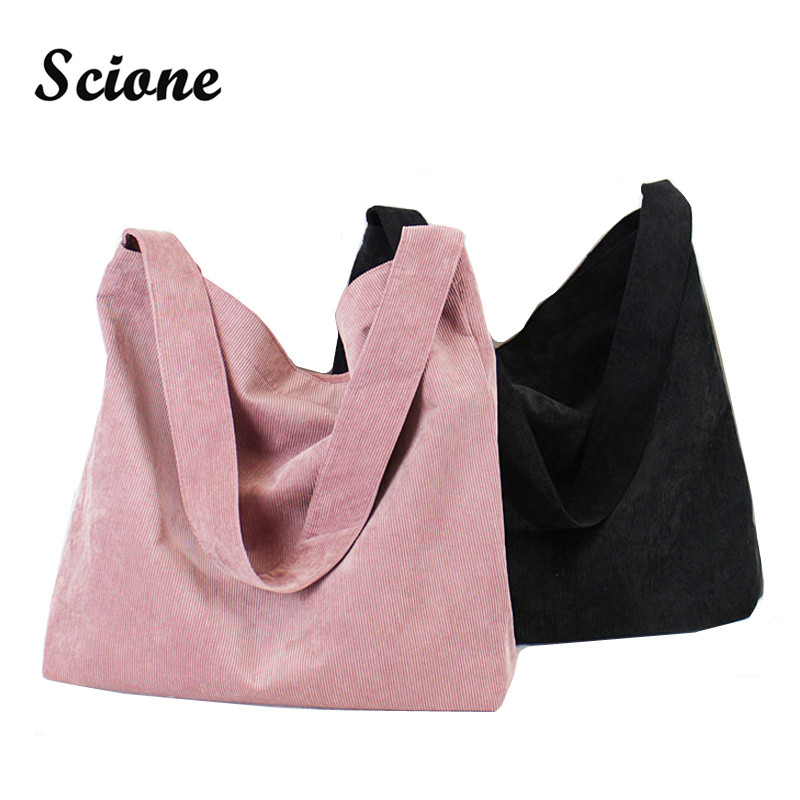 Scione Canvas Women Handbag Corduroy Women Bag Shopping Shoulder Bag Large Pocket Big Capacity Bags Casual Beach Tote 4 Colors цена 2016