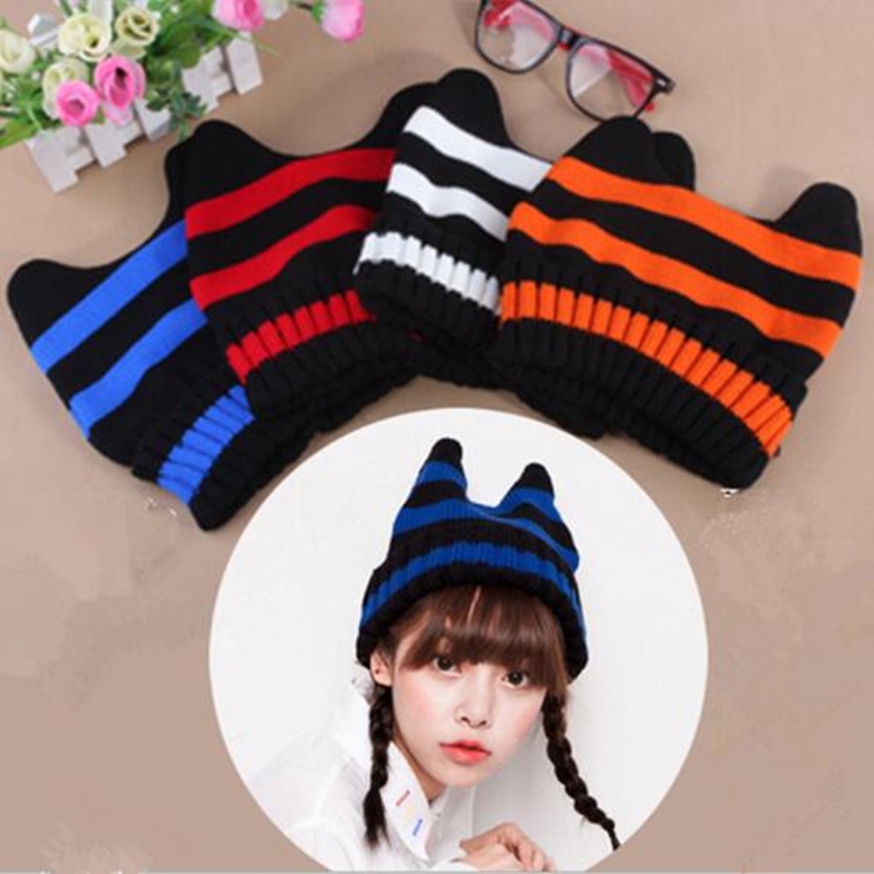oZyc Women Cat Fashion COtton Blend, Polyester Devil Horns Cat Ear Cute Crochet Braided Knit Beanie Ski Wool Warm Cap Hat футболка toy machine devil cat black