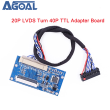 LVDS 1ch 8bit S8 DF14   20Pin Turn to 40Pin TTL Signal LCD T con board Converter Board for 7 10.1 inch 1024x768 LCD Panel
