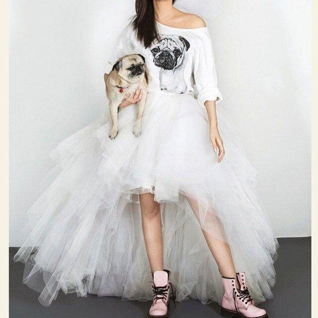 df0aa678ed Faldas de tul alto bajo largo para mujer falda de tutú rígido exuberante  para mujer sesión