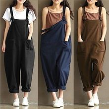 2018 New Womens Casual Loose Linen Pants Cotton Jumpsuit Strap Harem Trousers Overalls