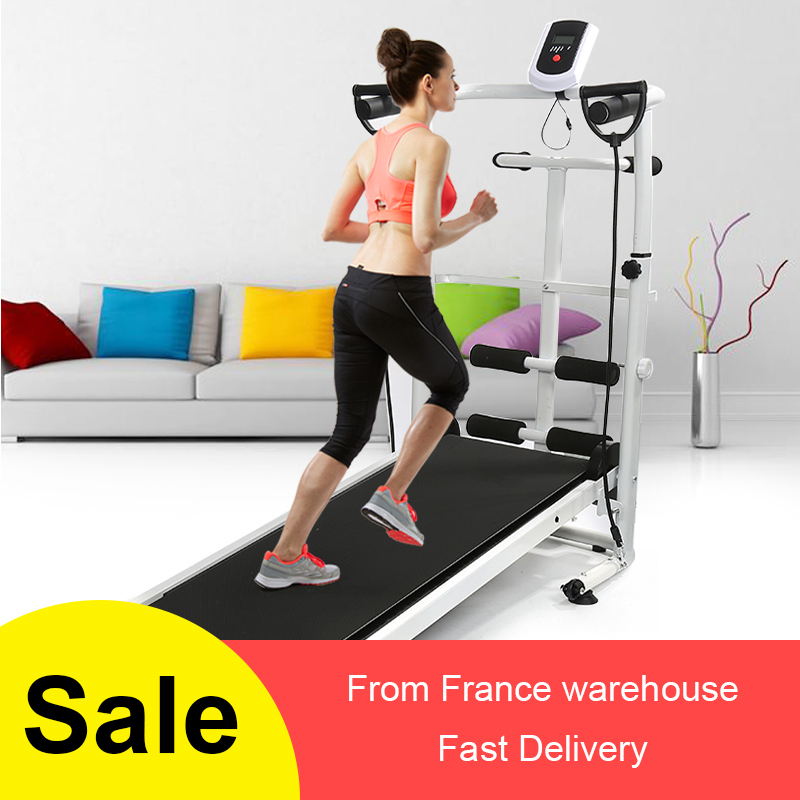 Treadmill Folding Running Training Twisting Machine Sit-Ups Running + LED Dial Three-in-one Pure Mechanical Power Treadmill HWC