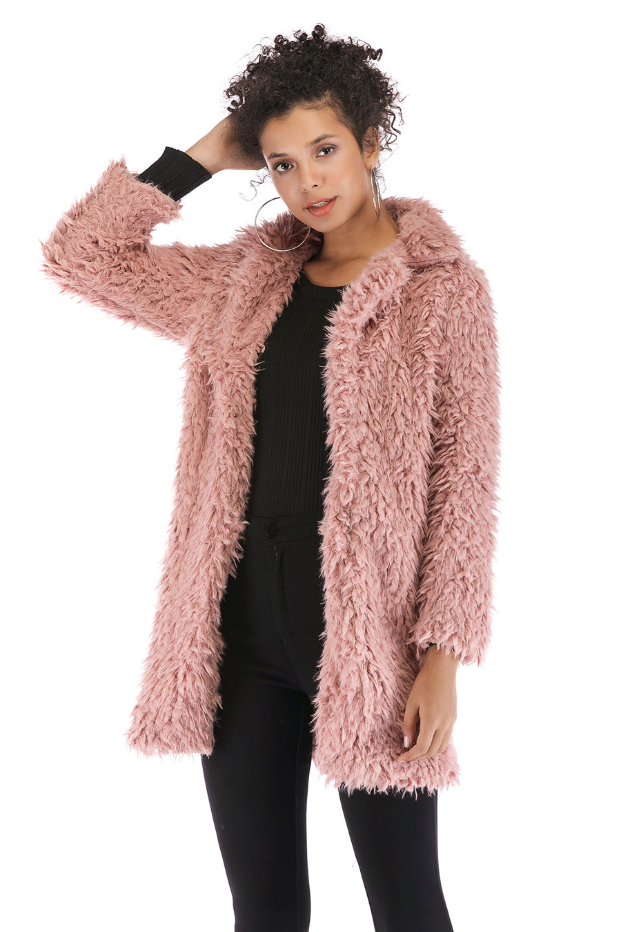Gladiolus 2018 Women Autumn Winter Coat Turn-Down Collar Long Sleeve Covered Button Long Warm Shaggy Faux Fur Coat Women Jackets (33)