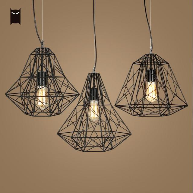 Vintage Cage Pendant Light Fixture Black White Iron Lighting Nordic Minimalist Hang Ceiling Lamp Re