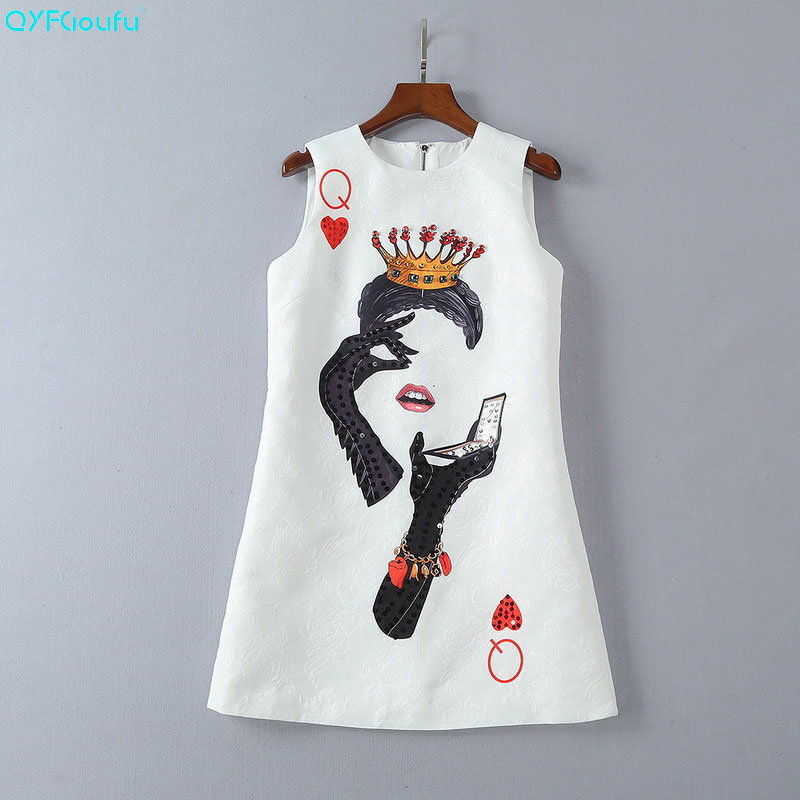 QYFCIOUFU New 2018 Fashion Runway Summer Dress Womens Sleeveless Casual Cartoon Crown Poker Cards Print Crystal Beading Dress