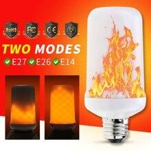 E26 LED Corn Bulb Flame Effect Lamp 220V E14 Led Candle Fake Fire 99leds E27 Vintage Home Decor Night Light Two Modes