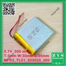 1 unids. batería de li-ion 3.7 v 300 mAh batería recargable 3.7 v 300 mah tamaño: 3x30x35mm