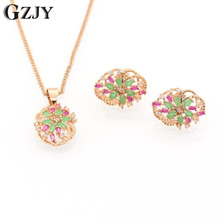 SUMPTUOUS! NATURAL TOP HIGH QUALITY RICH GREEN RED CUBIC ZIRCONIA NECKLACE EARRING GOLD JEWELRY SET I04-1